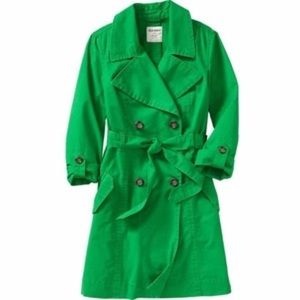 Green trench coat in small